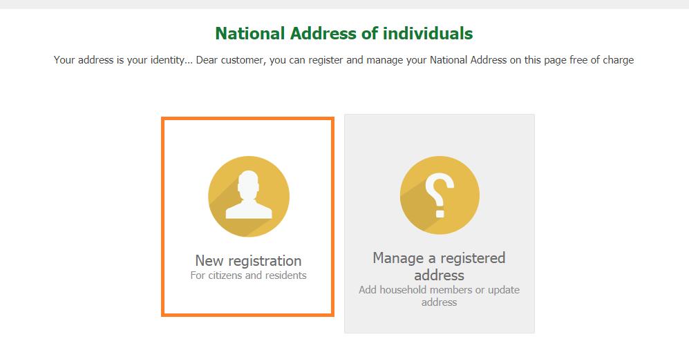 New Registration Saudi Post Address