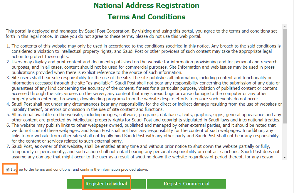 Terms and Conditions National Address